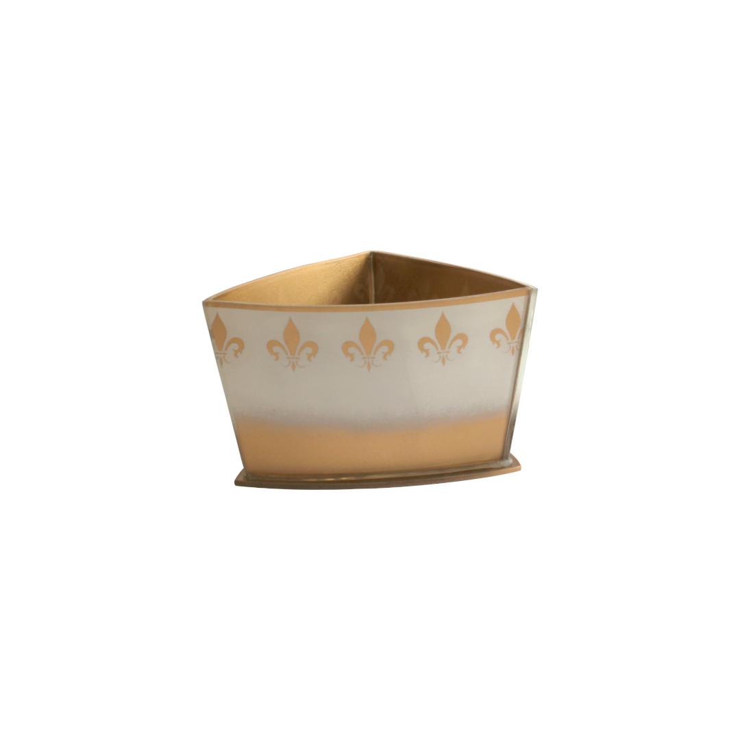 Vaso Triangular Curvo Flor de Lis Branco/Dourado
