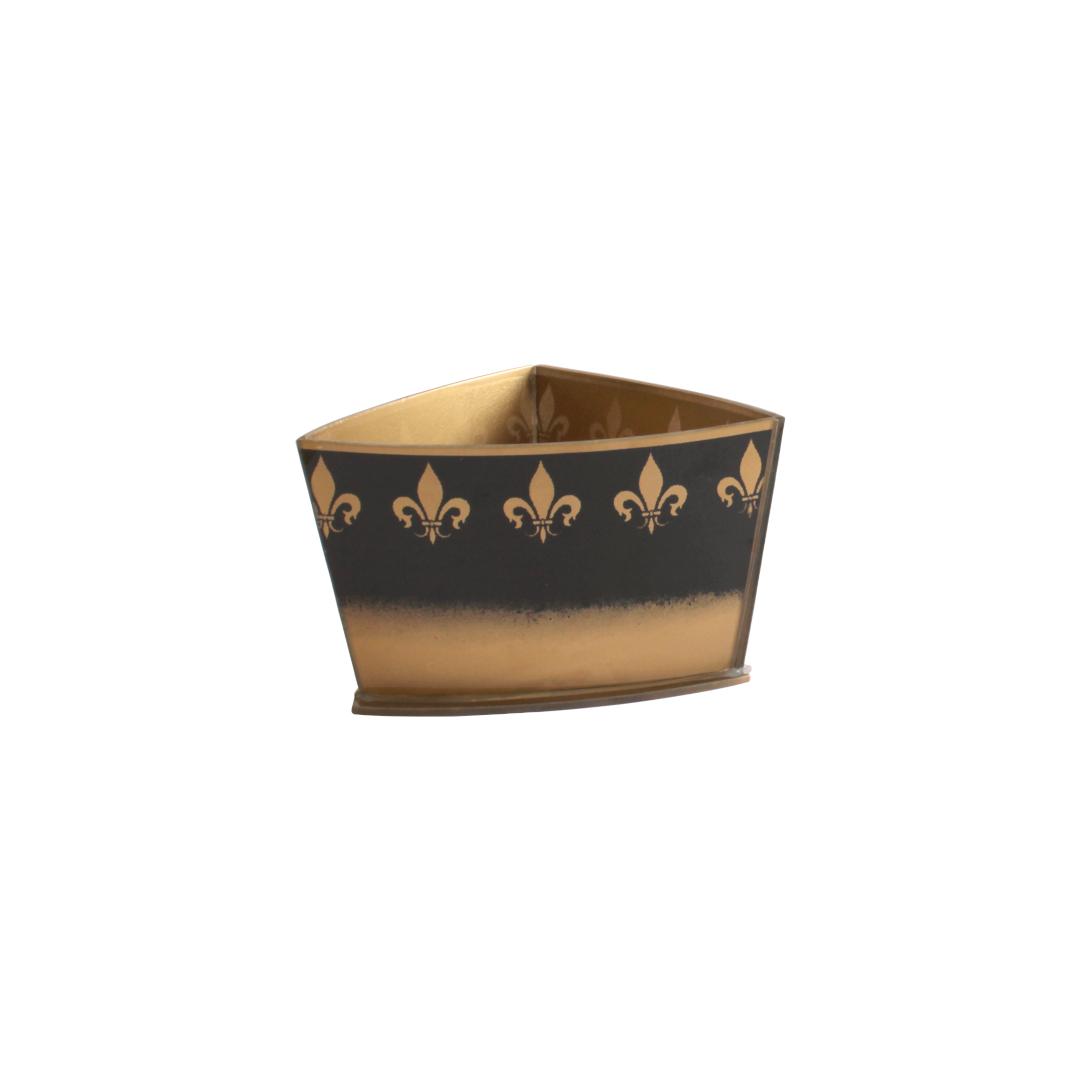 Vaso Triangular Curvo Flor de Lis Azul/Dourado