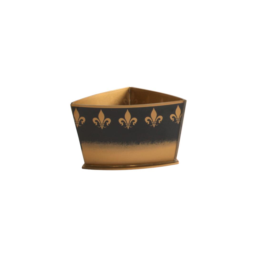 Vaso Triangular Curvo Flor de Lis Preto/Dourado