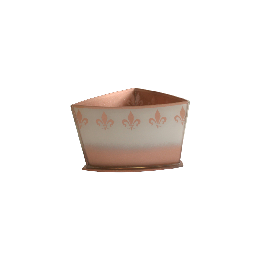 Vaso Triangular Curvo Flor de Lis Branco/Rosé