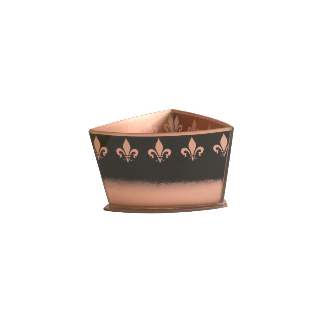 Vaso Triangular Curvo Flor de Lis Preto/Rosé