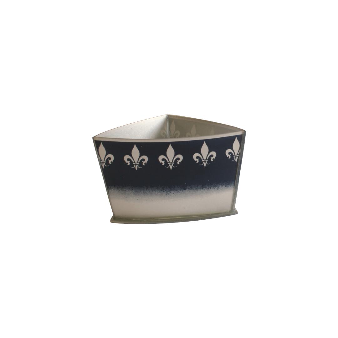 Vaso Triangular Curvo Flor de Lis Azul/Prata