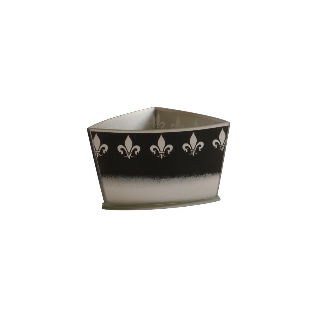 Vaso Triangular Curvo Flor de Lis Preto/Prata