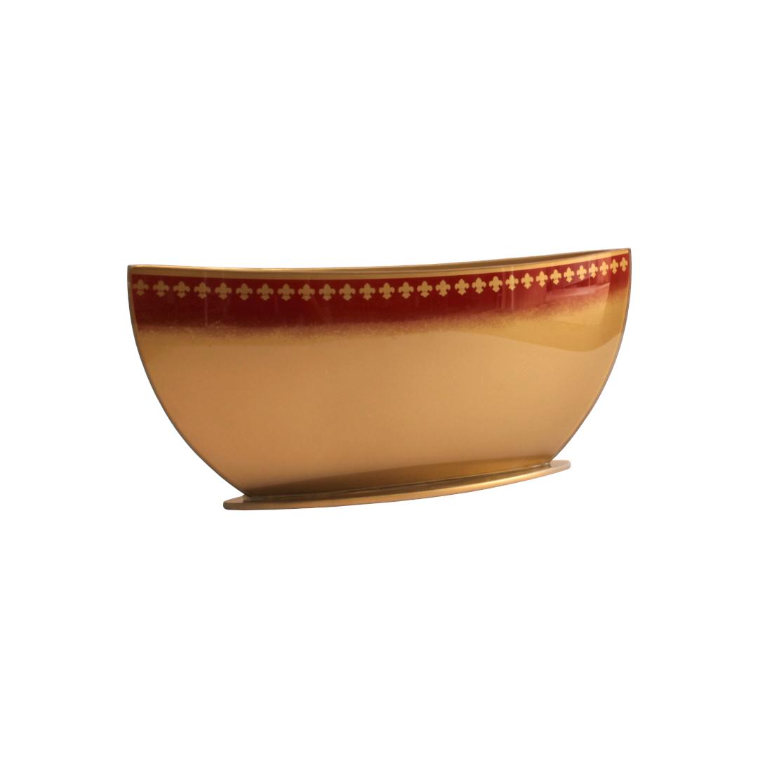 Vaso JR Flor de Lis Vermelho/Dourado