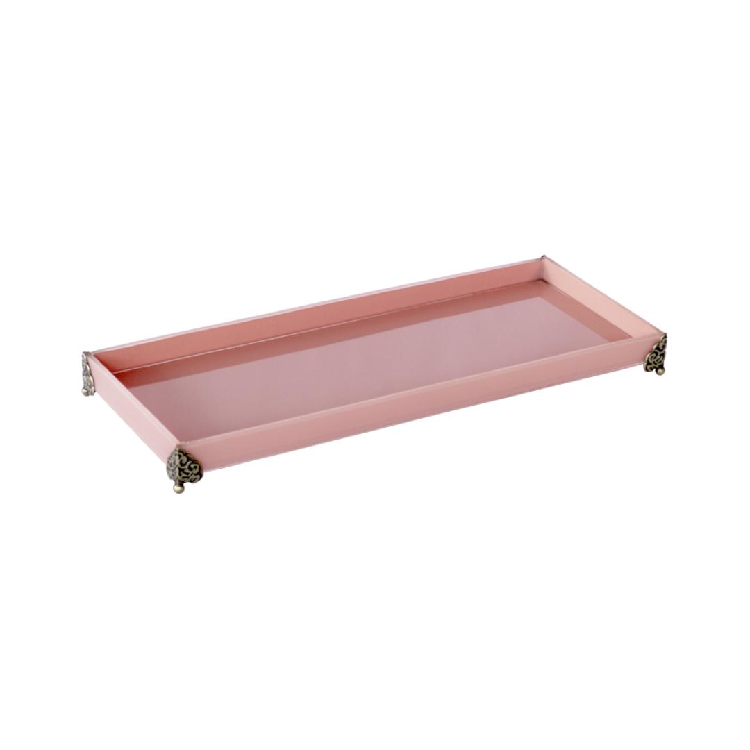Caixa de Lavabo Grande C/ Metal Rosa