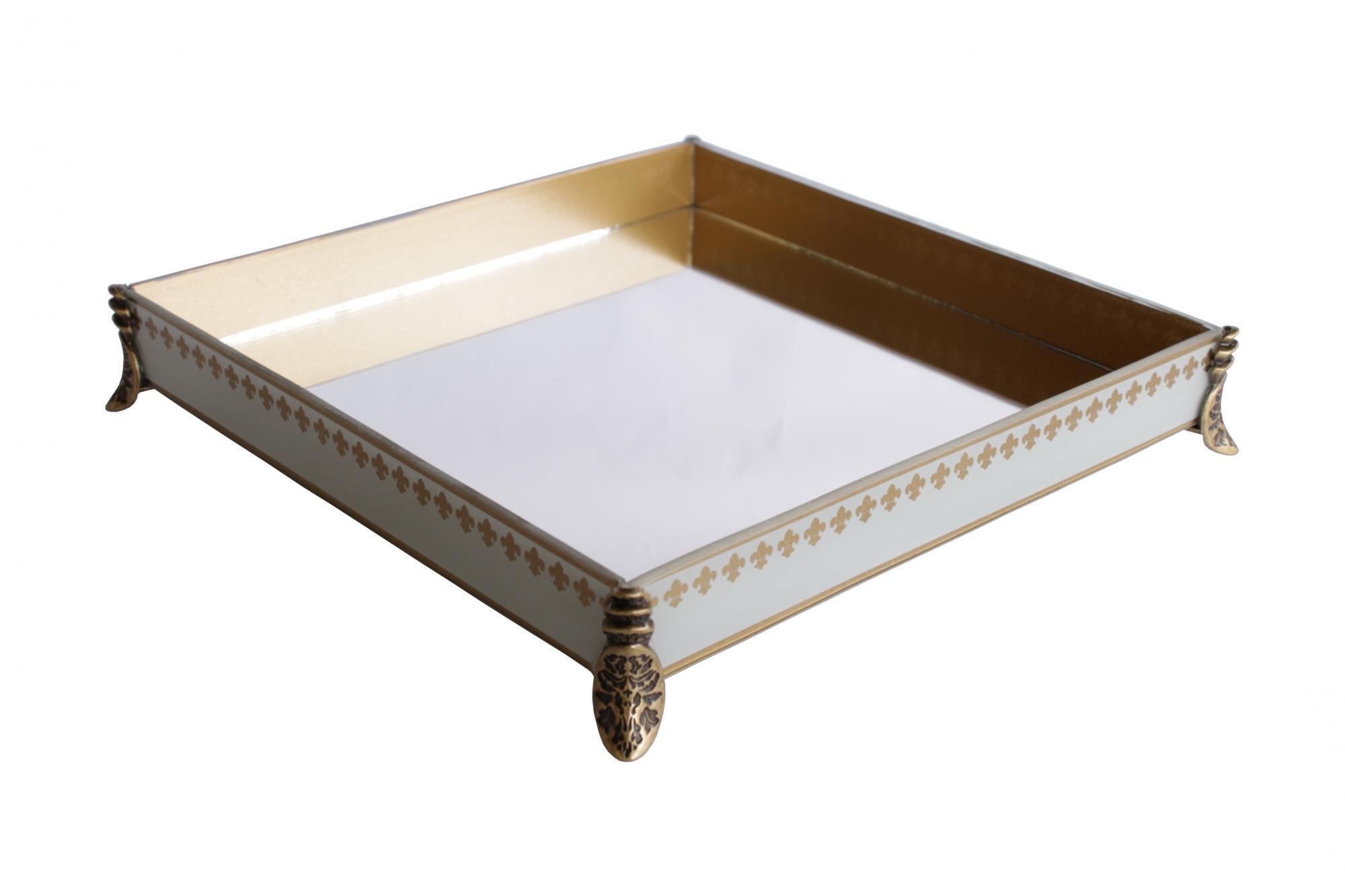 Caixa Quadrada Grande Flor de Lis Branca/Dourada