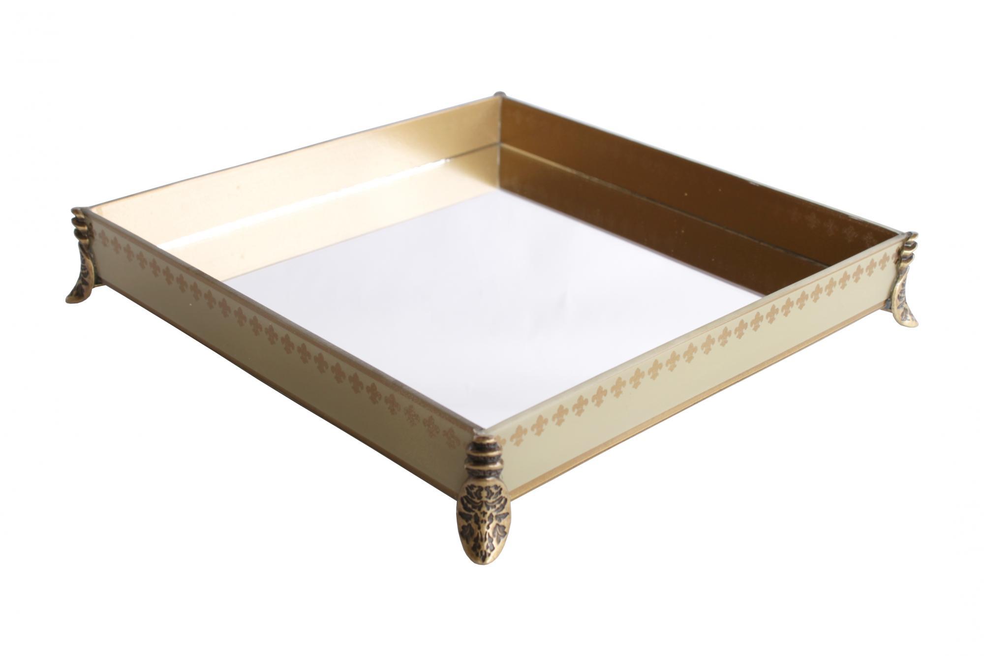 Caixa Quadrada Grande Flor de Lis Palha/Dourada