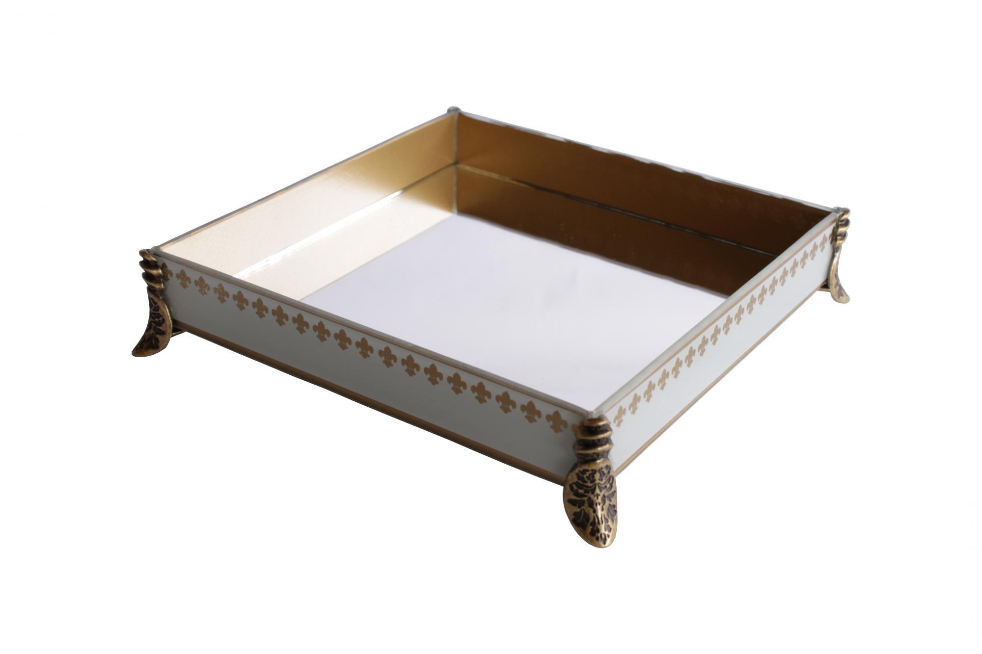 Caixa Quadrada Pequena Flor de Lis Branca/Dourada