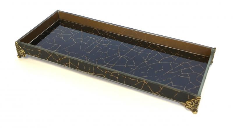 Caixa de Lavabo Peq. C/ Metal Craquelê Preta
